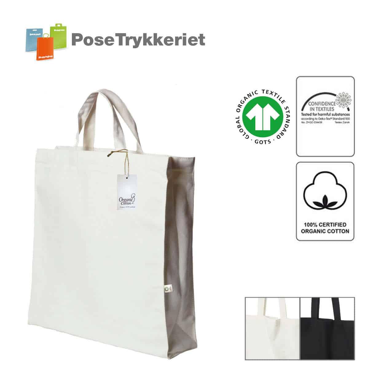 Miljøvenlig bomulspose i kraftig kanvas, str. 38 x 42cm med korte hanke. Posetrykkeriet.dk
