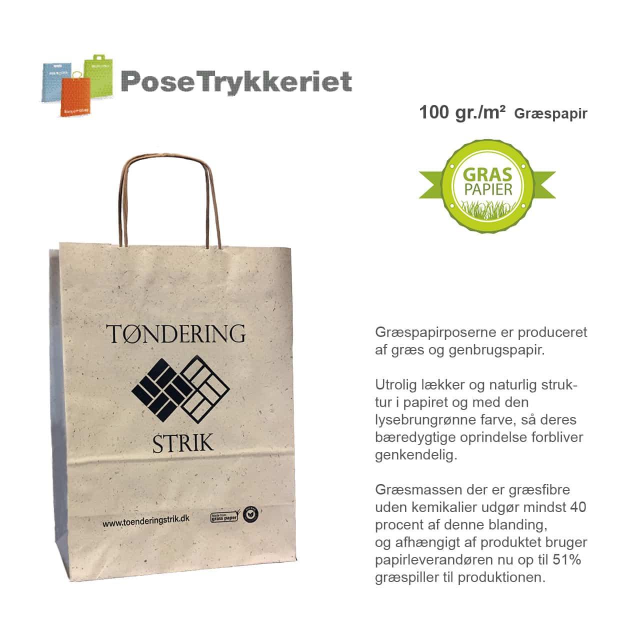 Græs papirposer med logotryk. Posetrykkeriet.dk