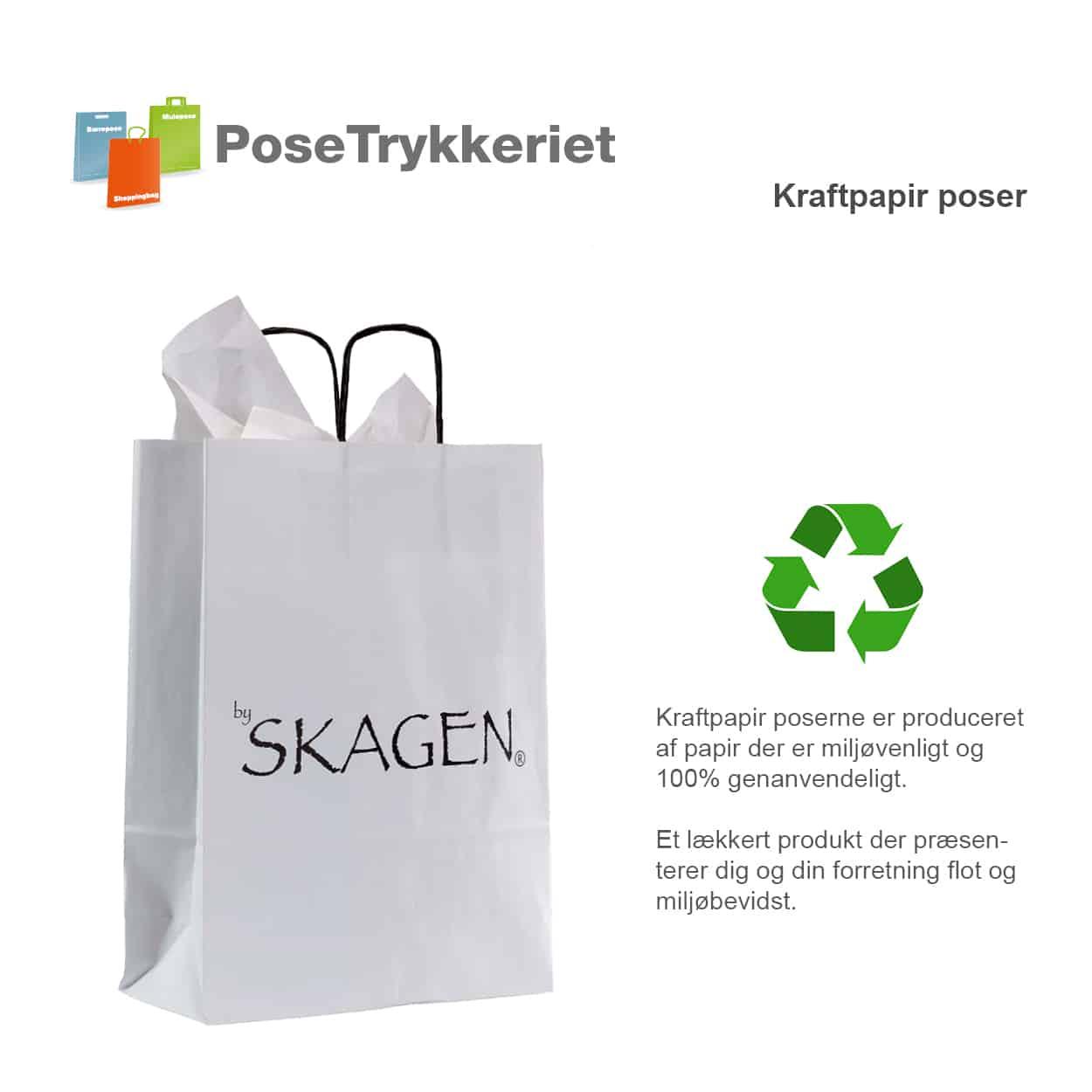 Papirposer med logotryk. Posetrykkeriet.dk