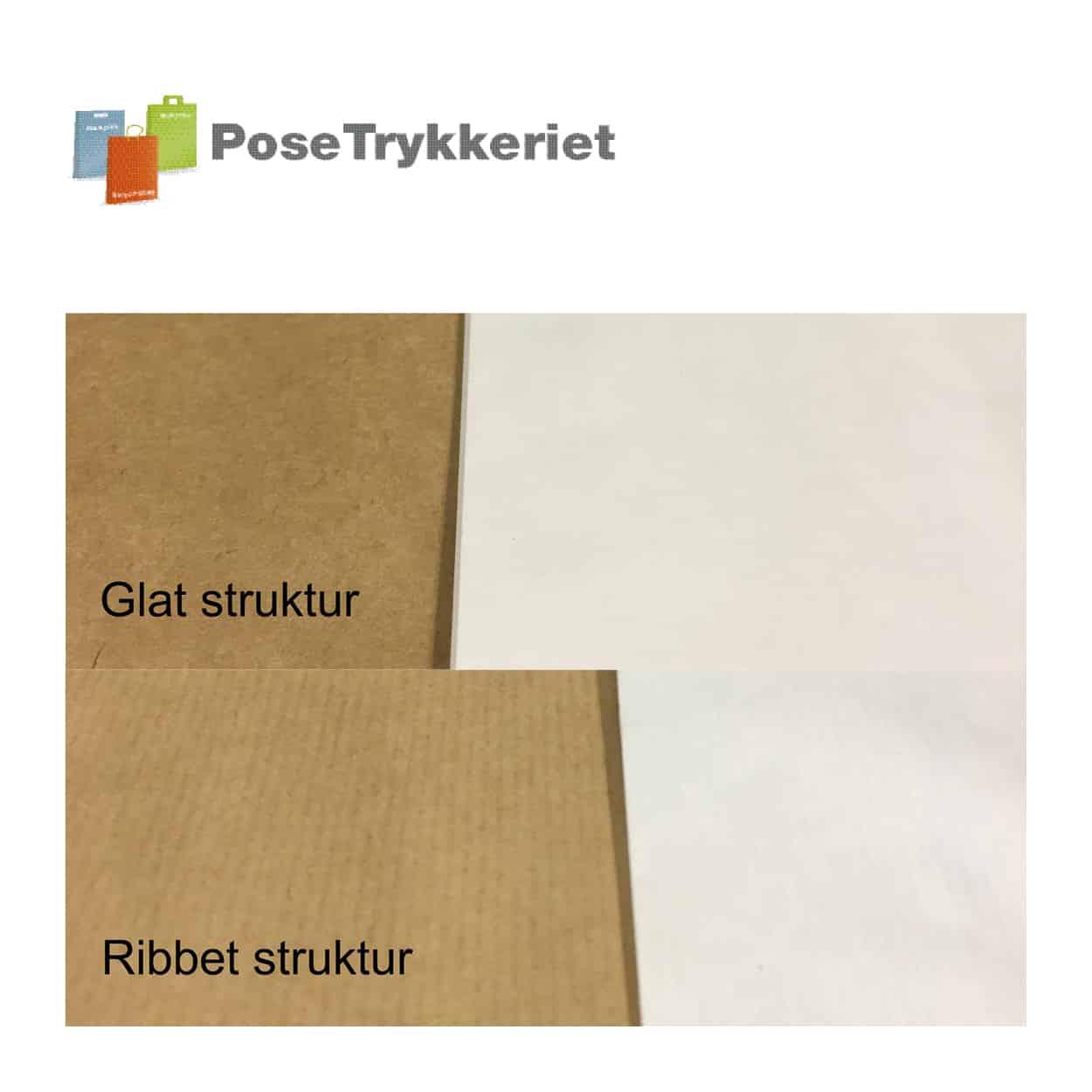 Glat og ribbet struktur, kraftpapir poser. Posetrykkeriet.dk