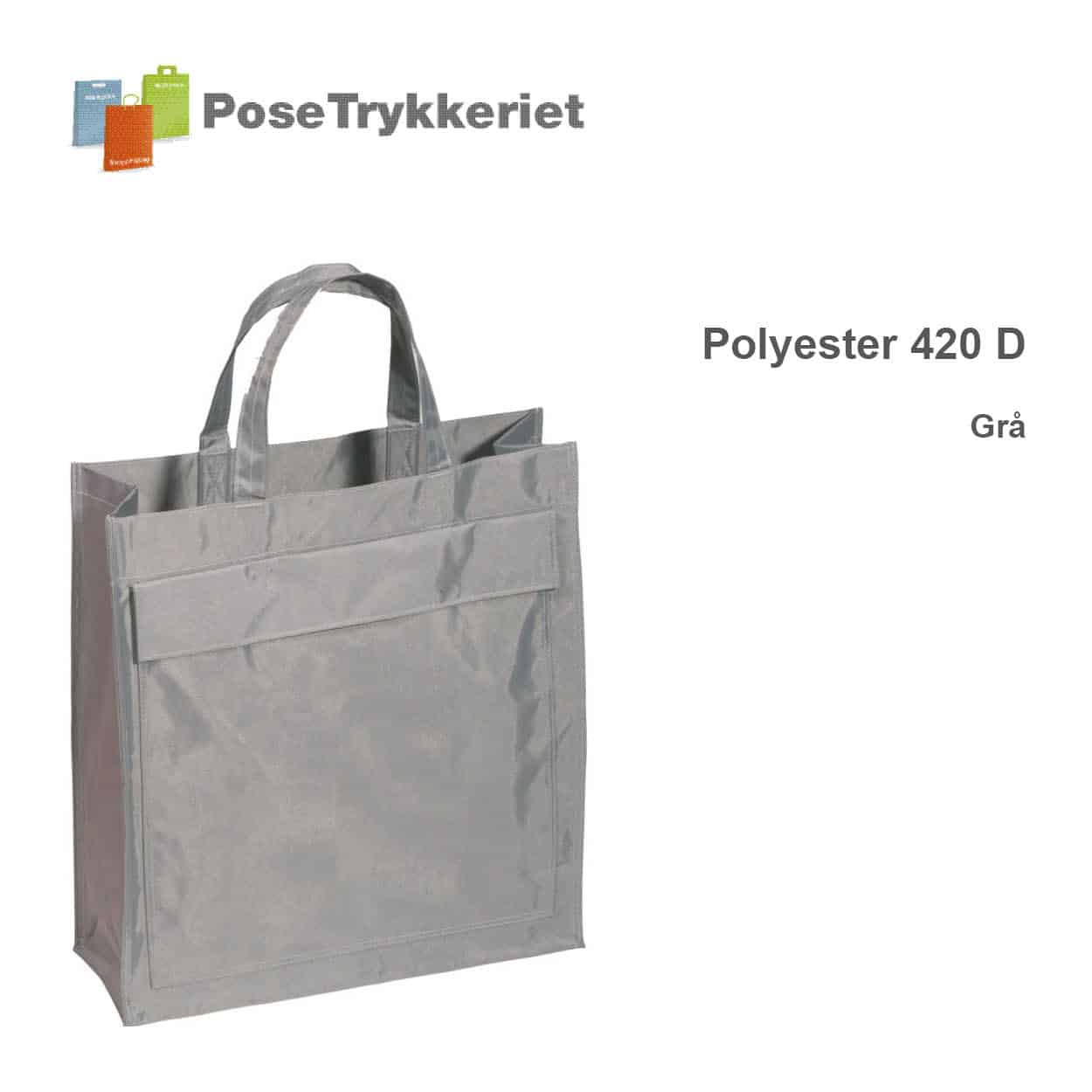 Grå revisorpose 420 D, PoseTrykkeriet.dk