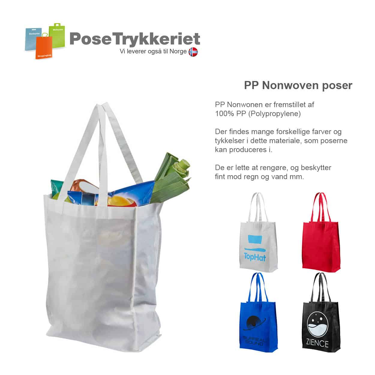 Laminerede Nonwoven poser med logotryk. PoseTrykkeriet.dk