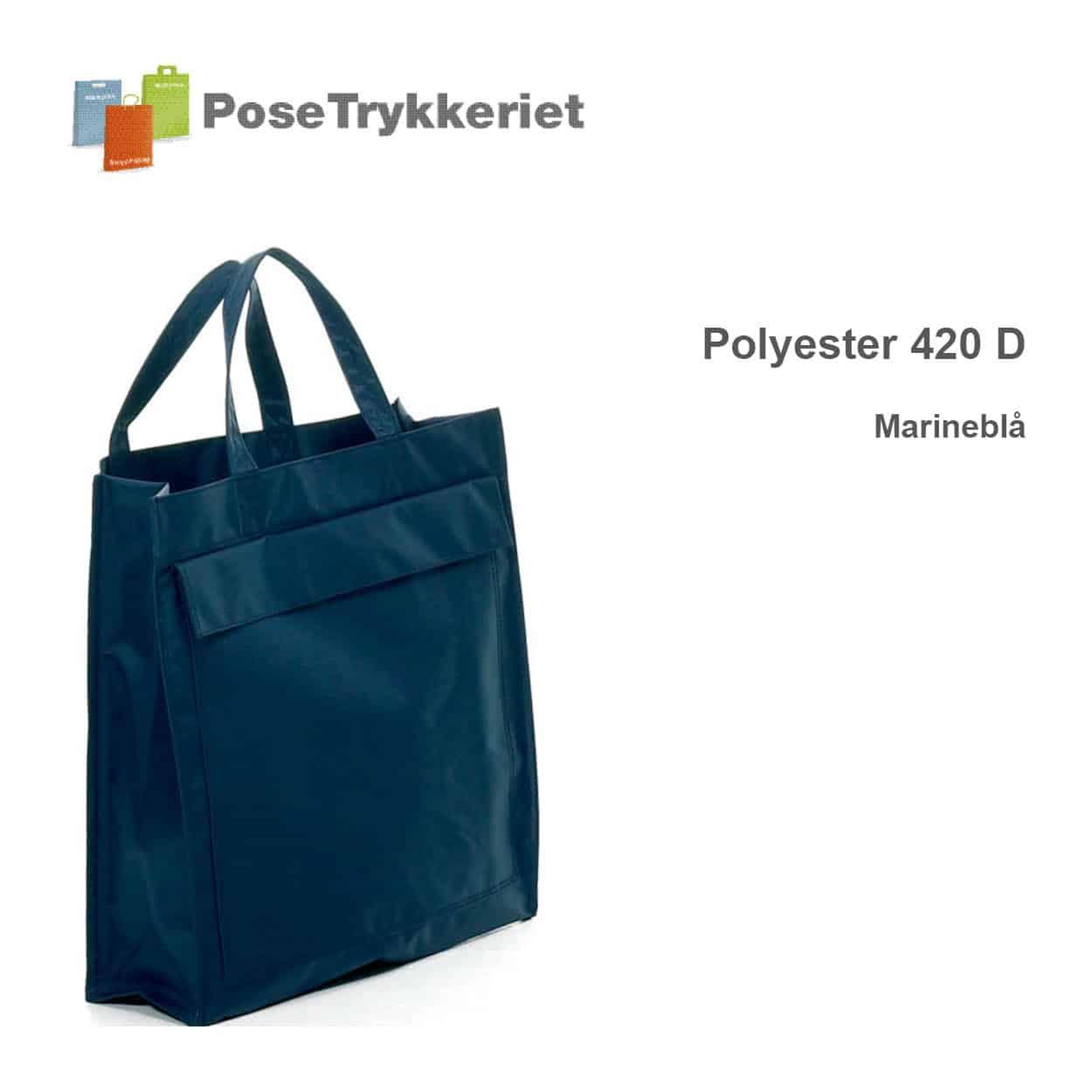 Marineblå revisorpose 420 D, PoseTrykkeriet.dk
