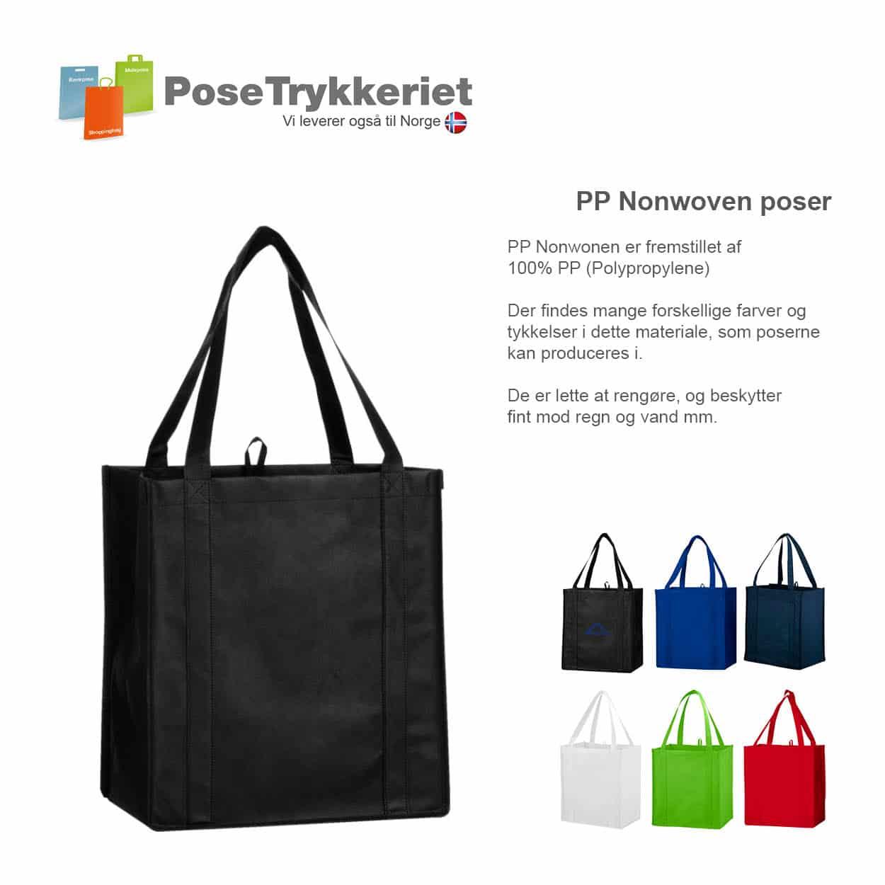 Nonwoven bæreposer med forstærkede stropper og bund. PoseTrykkeriet.dk
