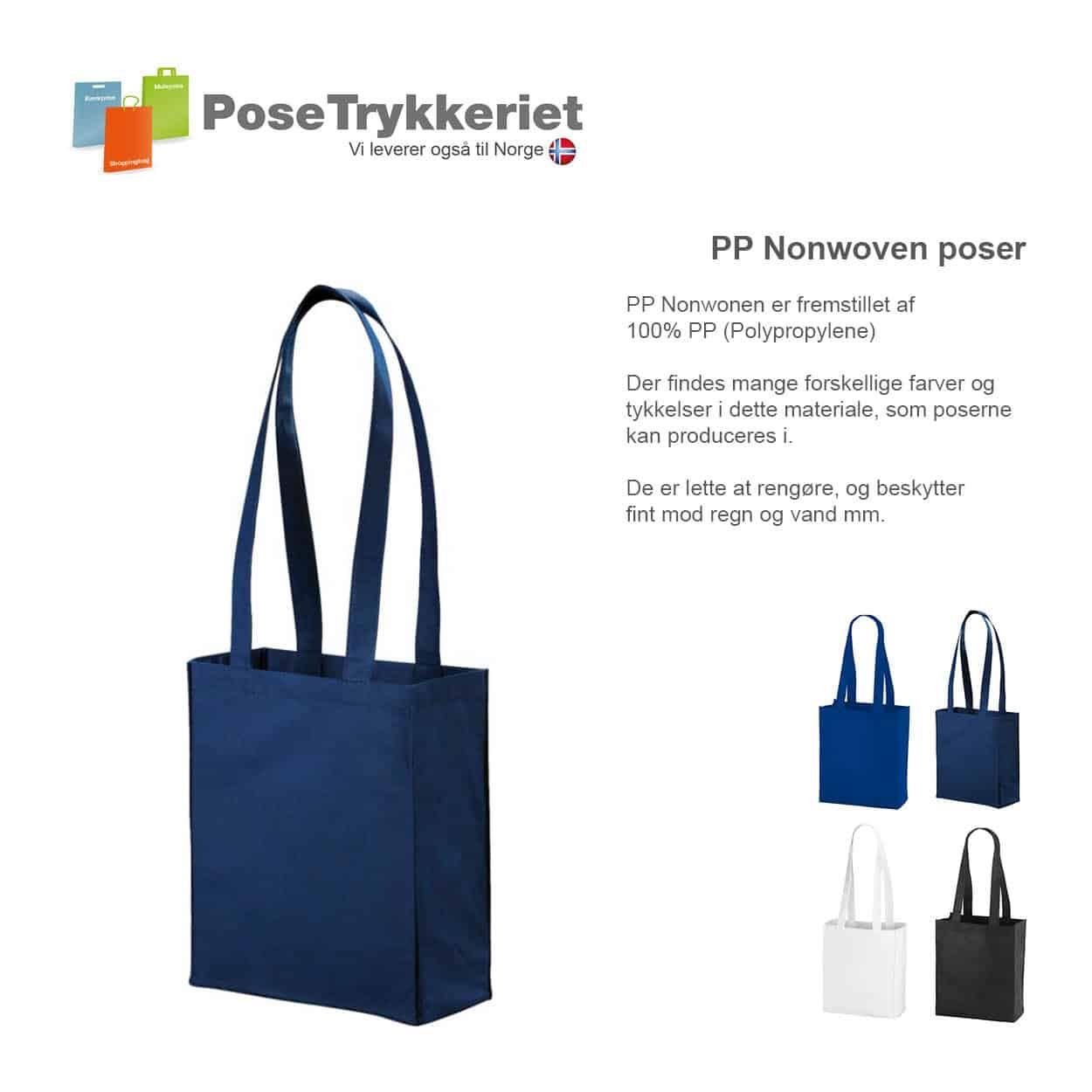 Nonwoven bæreposer med sider og bund og med logotryk. PoseTrykkeriet.dk