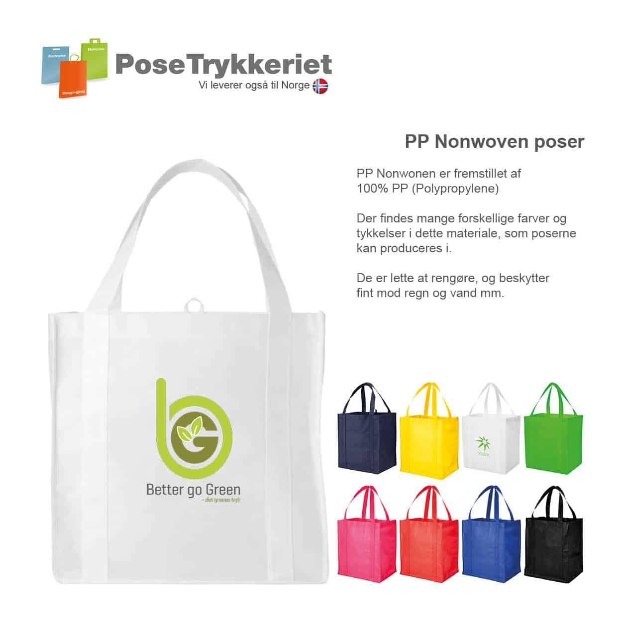 Nonwoven bæreposer med sider og forstærket bund med logotryk. PoseTrykkeriet.dk