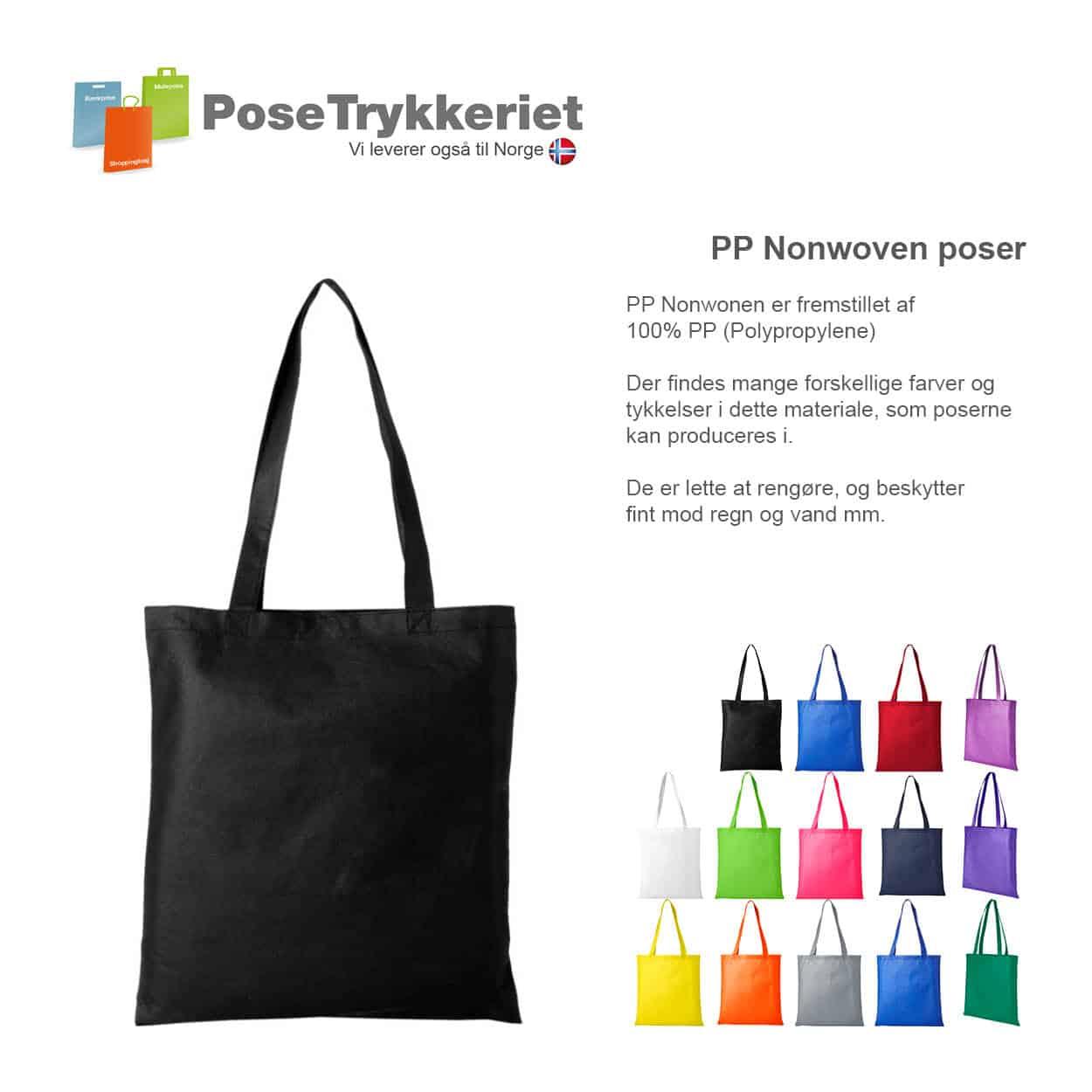 Nonwoven poser med logotryk. PoseTrykkeriet.dk