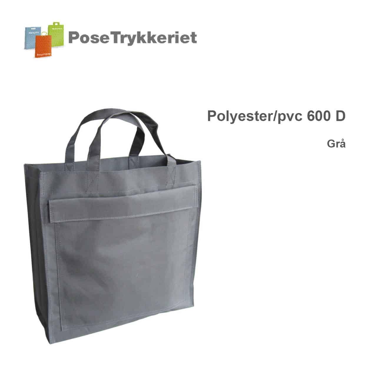 Revisor poser med korte hanke og logotryk. Grå, Polyester 600D. Posetrykkeriet.dk