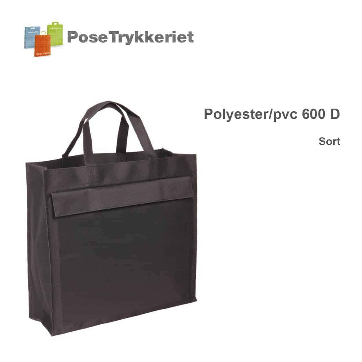 Revisor poser med korte hanke og logotryk. Sort, Polyester 600D. Posetrykkeriet.dk