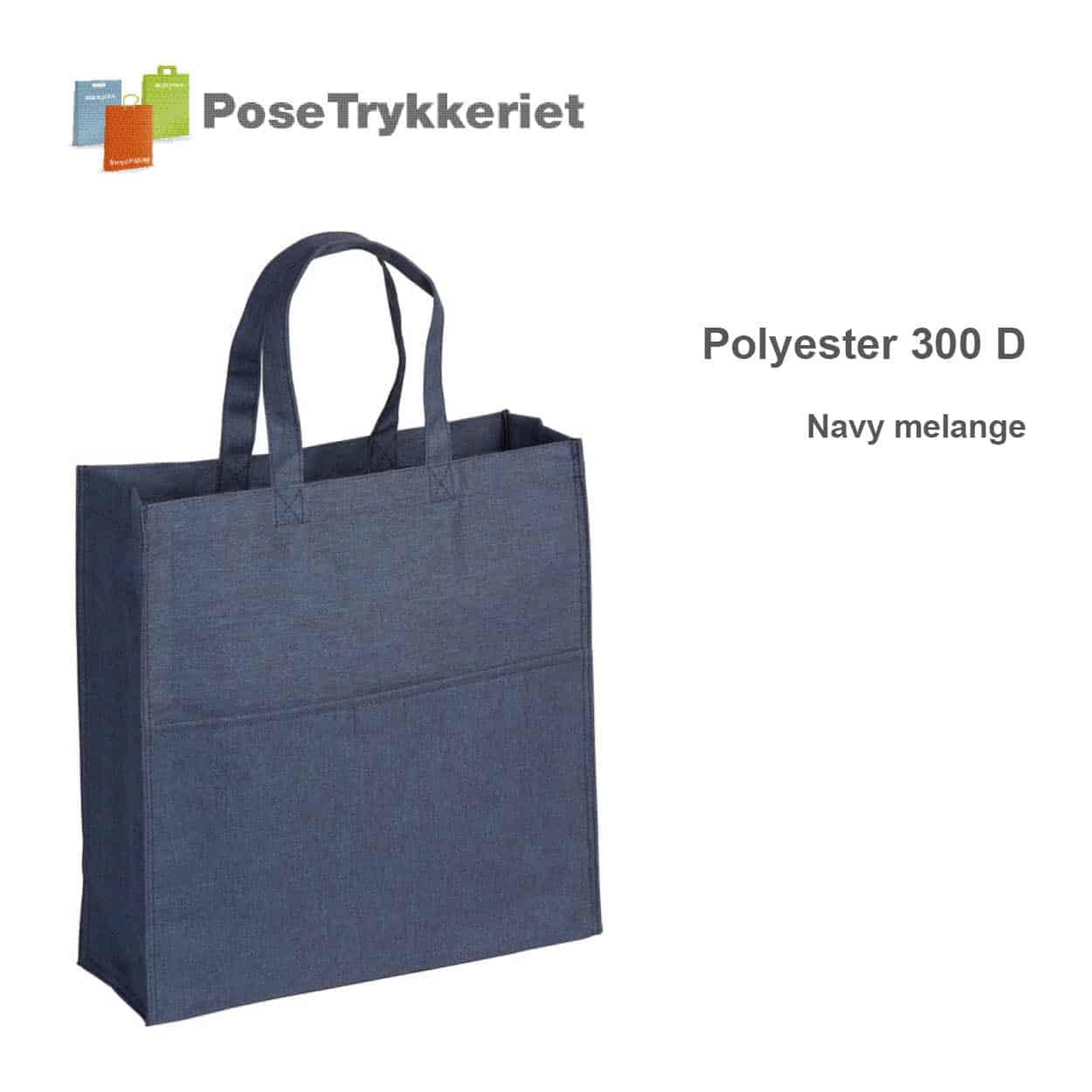Revisor poser polyester 300D. Navy melange, PoseTrykkeriet.dk