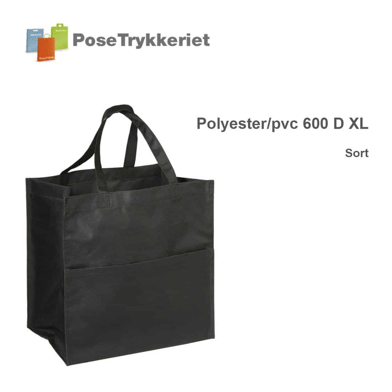 Revisor poser polyester 600 D XL. Sort. PoseTrykkeriet.dk