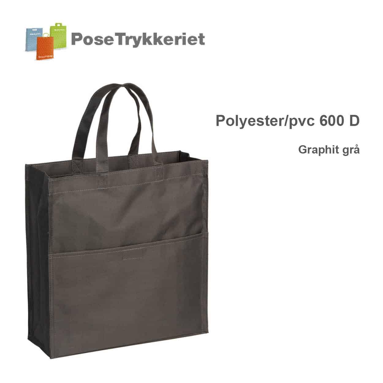 Revisor poser polyester 600 D. Graphit grå. PoseTrykkeriet.dk