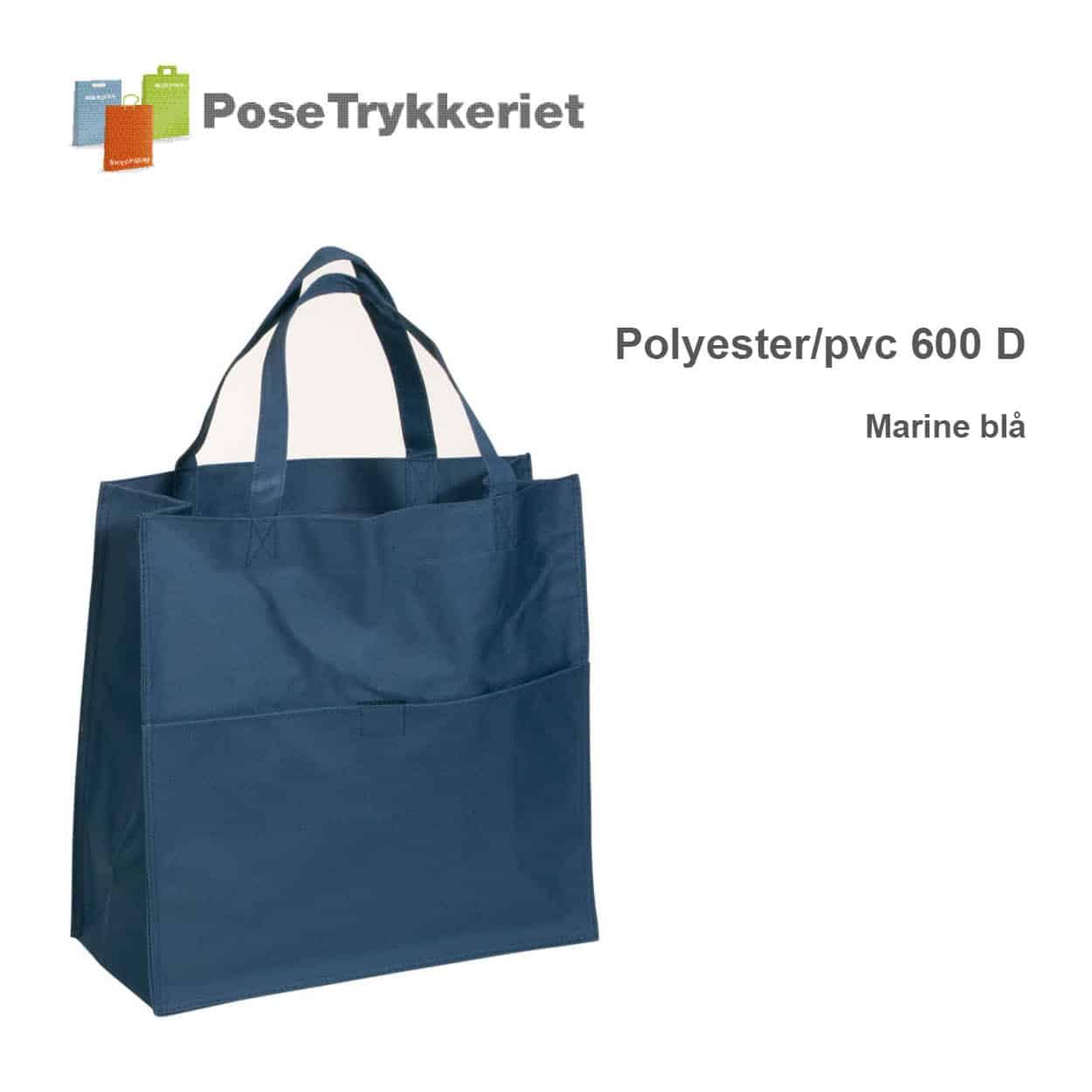 Revisor poser polyester 600 D. Marineblå. PoseTrykkeriet.dk