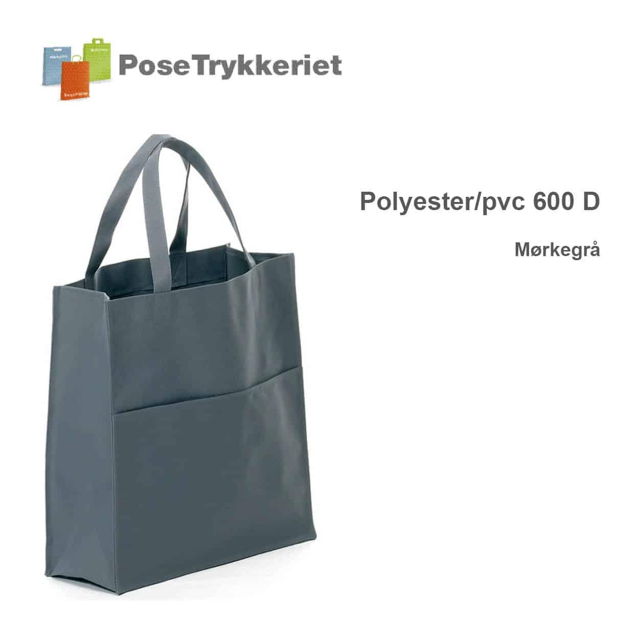 Revisor poser polyester 600 D. Mørkegrå. PoseTrykkeriet.dk