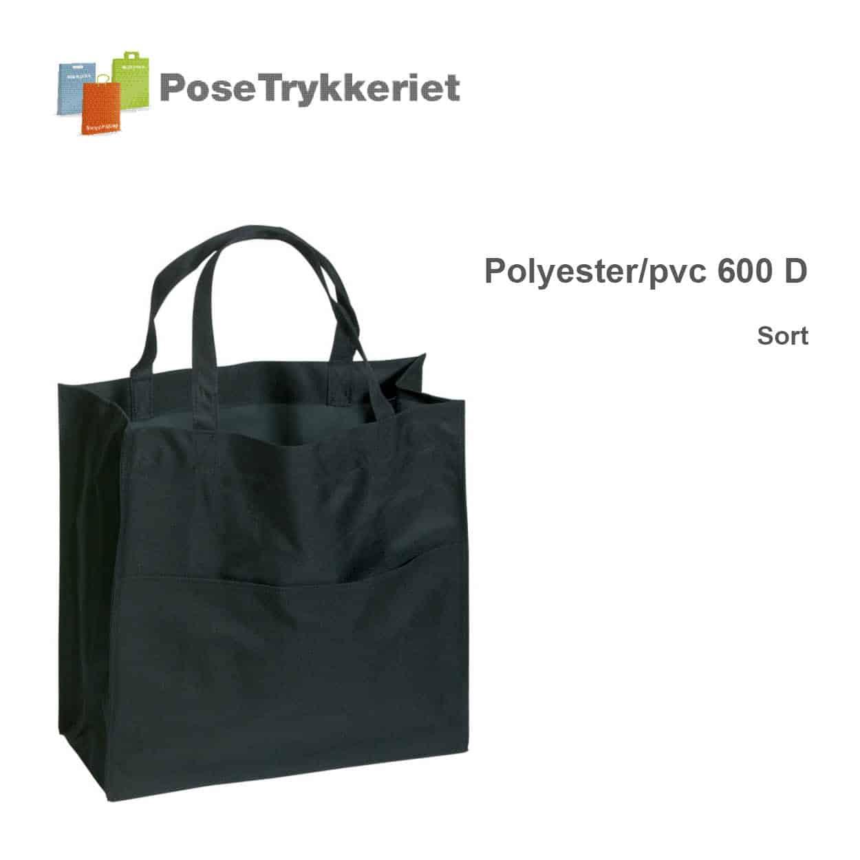 Revisor poser polyester 600 D. Sort. PoseTrykkeriet.dk