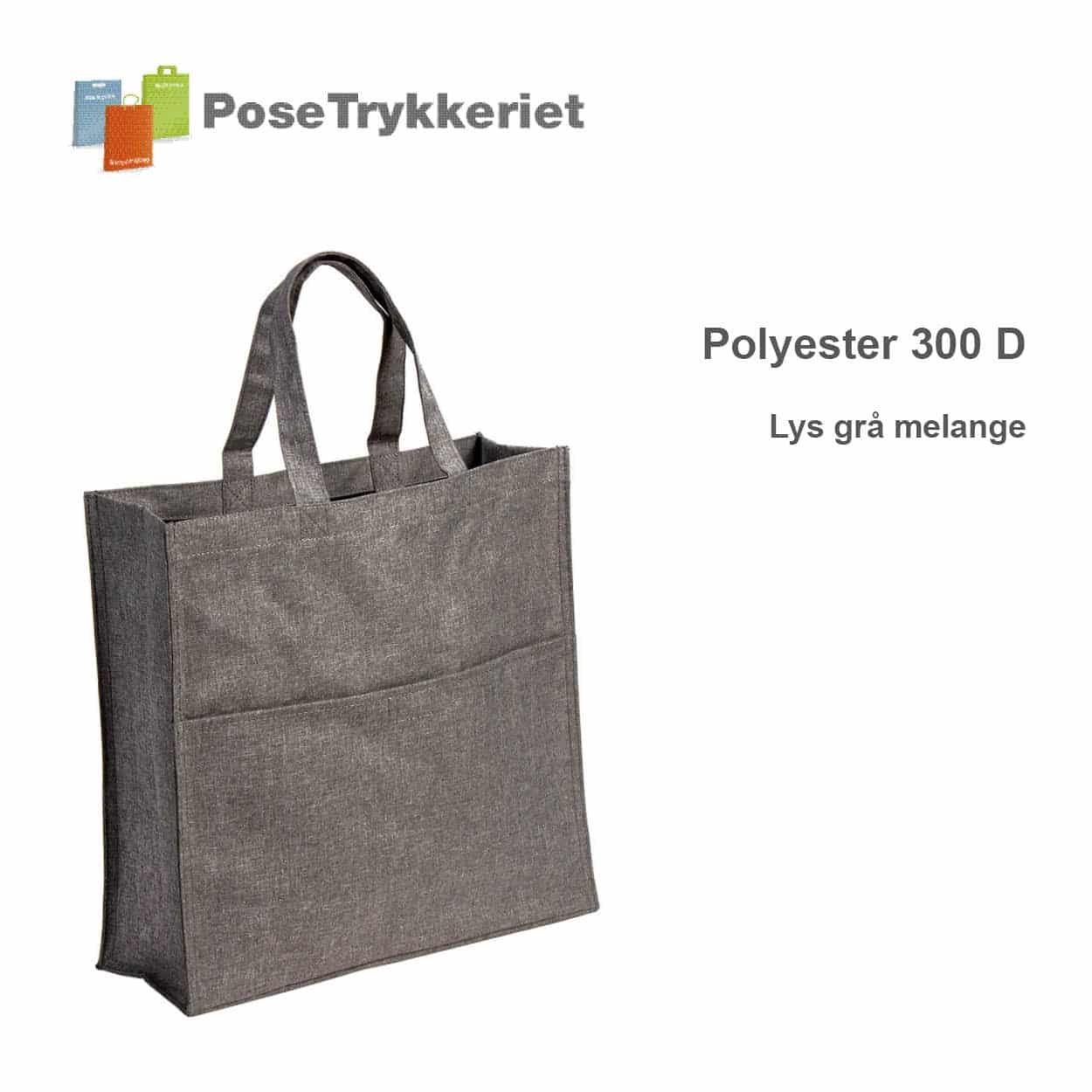 Revisor poser polyester 600D. Lys grå melange, PoseTrykkeriet.dk