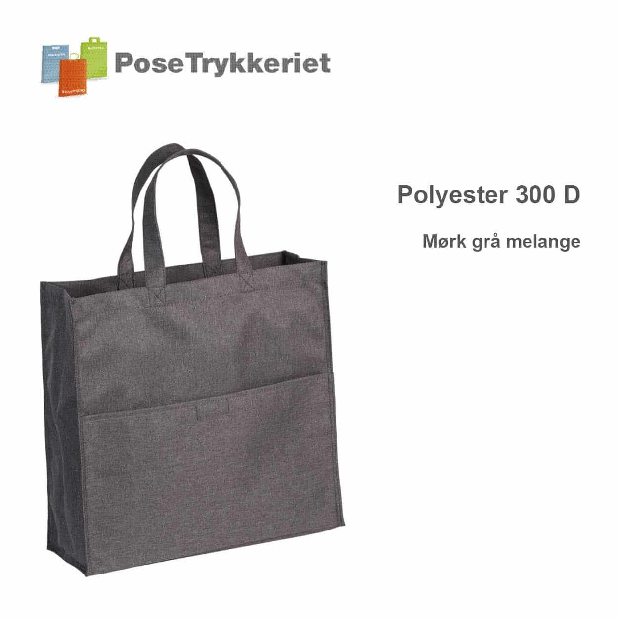 Revisor poser polyester 600D. Mørk grå melange, PoseTrykkeriet.dk