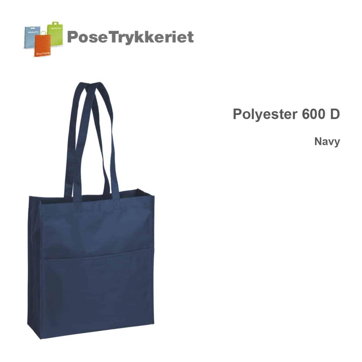 Revisorpose med lange hanke. 600 D NAVY. PoseTrykkeriet.dk