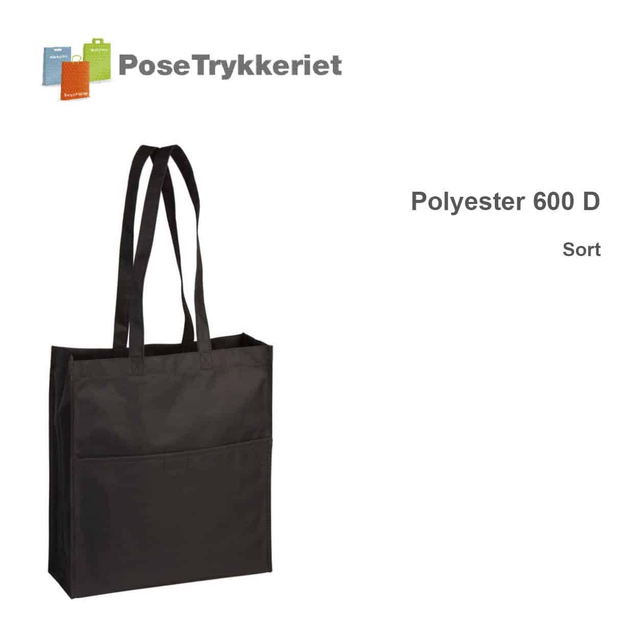 Revisorpose med lange hanke. 600 D. Sort. PoseTrykkeriet.dk