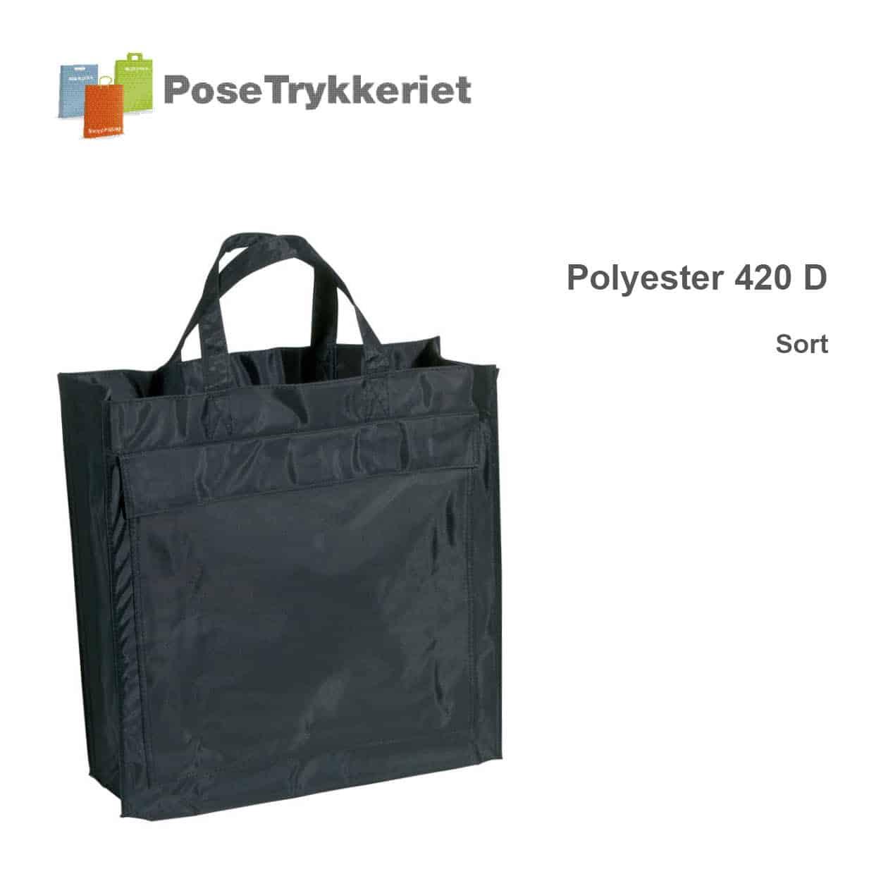 Sort revisorpose 420 D, PoseTrykkeriet.dk