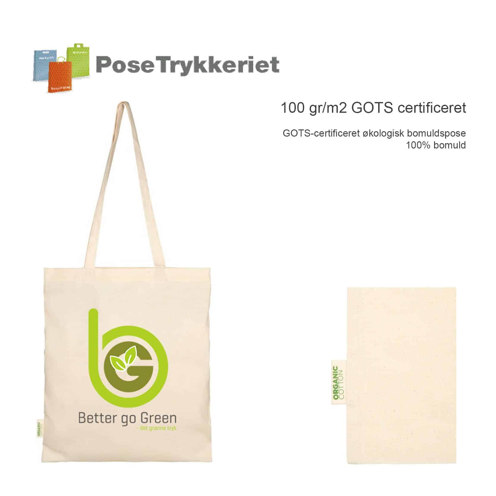 100 gr m2 GOTS certificeret pose med logotryk. Posetrykkeriet.dk