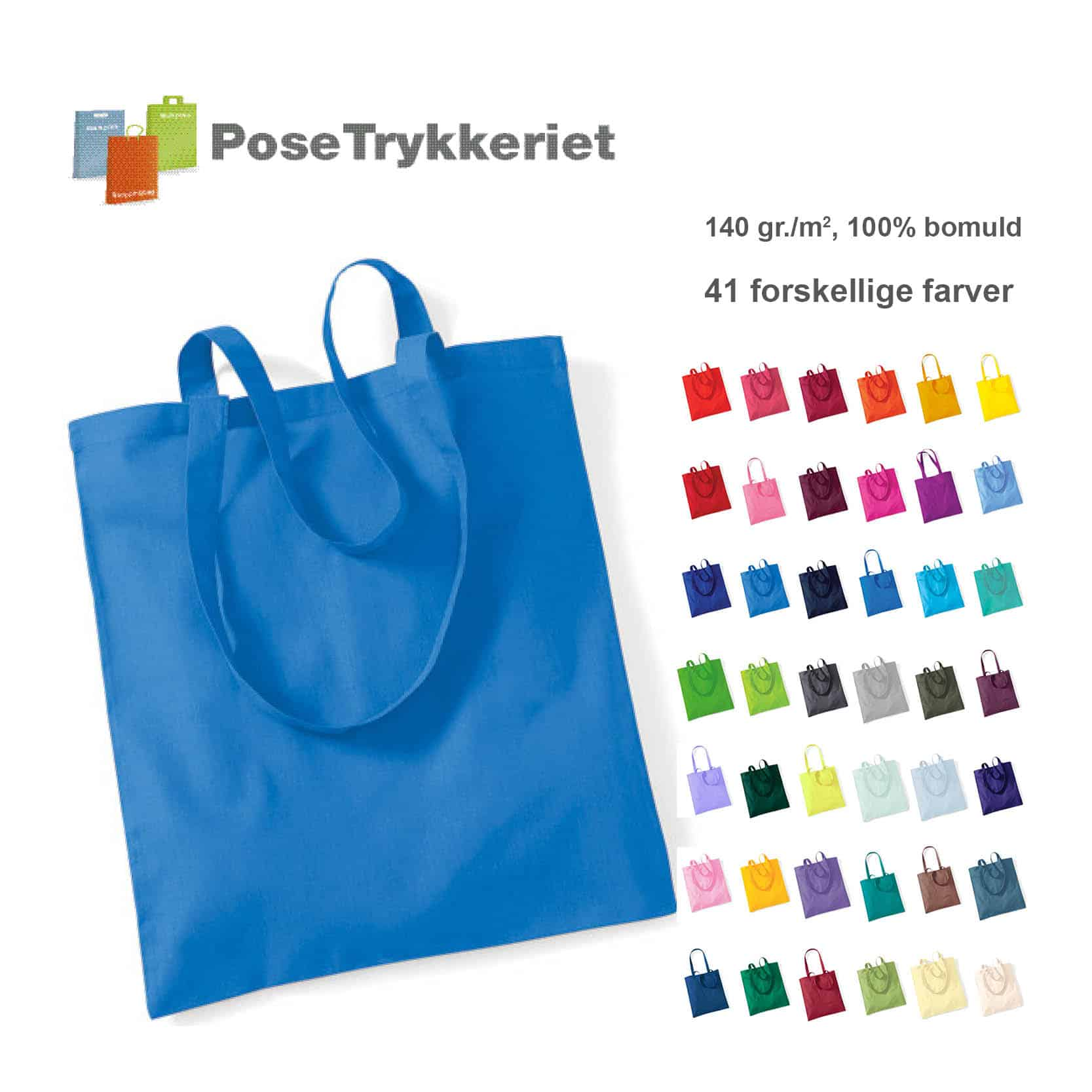 Tote bags 100% bomuld, 41 farver.PoseTrykkeriet.dk