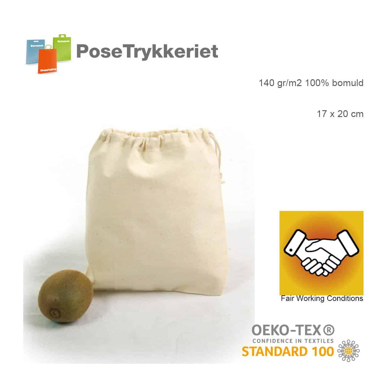 Bomulds snøreposer str. 17 x 20 cm. Posetrykkeriet.dk