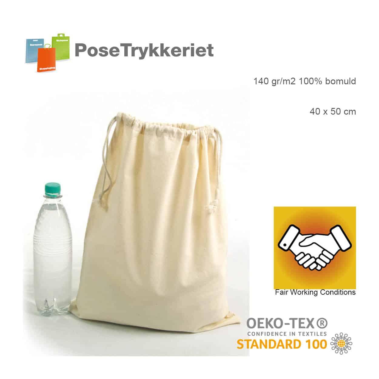 Oeko-Tex snøre poser med logotryk. Posetrykkeriet.dk