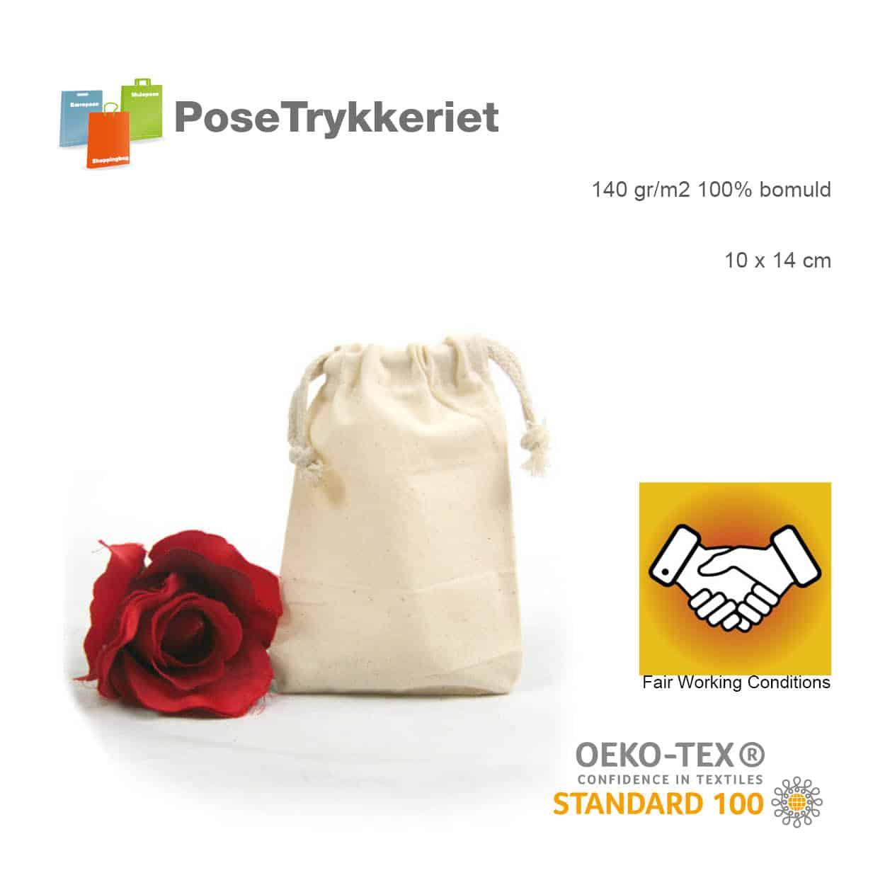 Oeko-tex snøreposer med logo. Posetrykkeriet.dk
