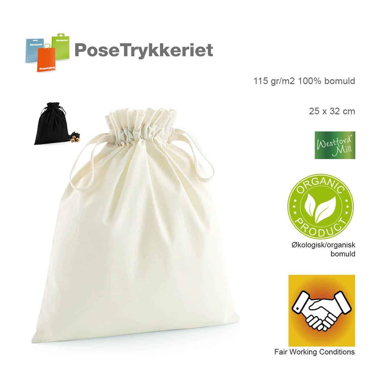 Snøreposer med logo. Økologisk bomuld. Posetrykkeriet.dk