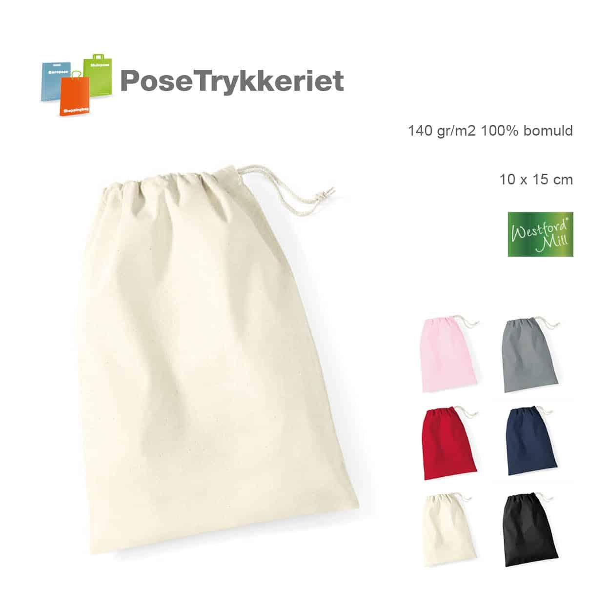 Små bomuldsposer med snørreluk, bomuld.Posetrykkeriet.dk