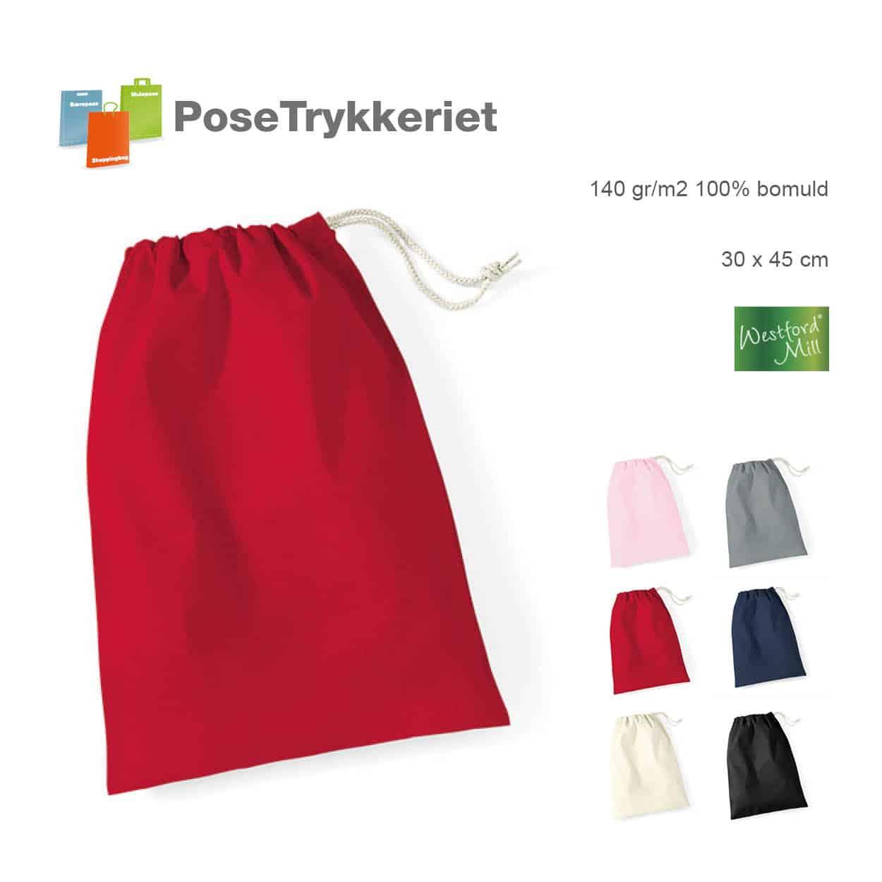 Stofposer med snørrelukning. Posetrykkeriet.dk