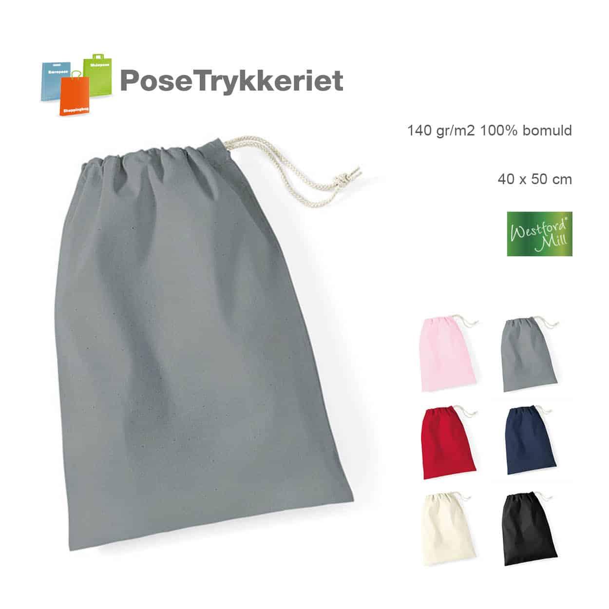 Stofposer til stegepander, med logotryk. Posetrykkeriet.dk