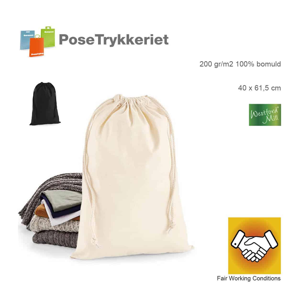 Store snøreposer i bomuld med logo. Posetrykkeriet.dk